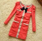 BNWT Girls Long sleeve Winter party dress gold button & bow age 2 3 4 5 6 7 RED