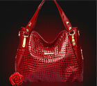 Womens Ladies Leather Handbag Briefcase Fashion Bag Crocodile Print Purse 5A+