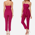 New Sexy Women Strapless Backless Rompers Zipper Back Bowtie Long Pants Jumpsuit
