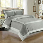 Hotel Gray and Light Gray Egyptian Cotton Duvet Cover Set Royal Tradition 300TC