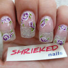Nail DECALS WRAPS Crocus Flowers Purple Vintage  Water TRANSFER Stickers +FD07