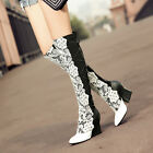 Cool Womens Block High Heel  Knee High Riding Boots Ladies Court Party New Shoes
