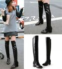 Ladies Black Faux Crocodile Leather Stretchy Mid Heel Over The Knee Boots Shoes