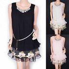 Fabulous Jeweled Pleats Floral Embroidery Faux Pearl Belt Sleeveless Lined Dress