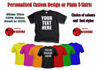 Personalised Custom Design Printed T-Shirts or Plain T-Shirts