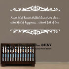 """A wee bit of heaven"" Removable Wall Stickers Quotes Art Baby Nursery Kids Decor"