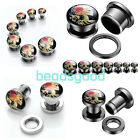"Pair 6g-9/16"" Dead Cameo Skull Stainless Steel Ear Tunnel Screw Plug Earlet Punk"