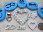 1x Sugarcraft/Fimo MOULD: Wedding/Engagement - Love Heart Rose Ring Diamond Dove