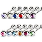New Surgical Steel Tongue Stud Barbell with Choice of Coloured Gem 1.6mm x 16mm