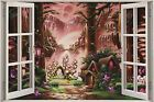 Huge 3D Window Fantasy Fairy Tale Forest View Wall Stickers Decal Mural