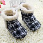 baby boots boys girls Snow winter grid Soft bottom Shoes Suit for 3-6 6-9-12Mths