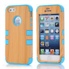 Wood Hybrid Combo Rugged Rubber Matte Case Cover Skin For iPhone 5S AU 4