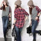 Fashion Plaid Check Pattern Casual Loose Long Sleeve  T-shirt Women's Blouse