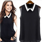 New Women Grils` Summer Loose Casual Chiffon Sleeveless Vest Shirt Tops Blouse