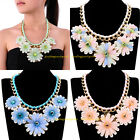 New Fashion Gold Chain Resin Crystal Pearl Flower Statement Bib Choker Necklace