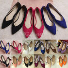 New Womens Ladies Flats Dolly Pointed Toe Ballerina Ballet Pumps Flat Shoes