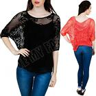 New Womens Ladies Two Layer Italian Half Sleeve Lagenlook Lace Top Size S M L