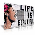 BANKSY Life is Beautiful Graffiti Modern Art Print Framed Canvas Box ~1pc