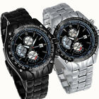 Mens Men Army Stainless Steel Band Date Quartz Sport Watch Men's Gift Watch WU