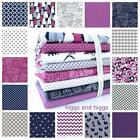 GREY NAVY AND JEWEL PURPLE MIX AND MATCH 100% COTTON FABRIC by the metre