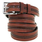 "Made In America 1 1/4"" Rich Brown Bridle Leather Belt Embossed Double Loop"
