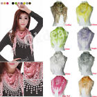 Autumn Summer Womens Embroidery Rose Lace Triangle Pendant Scarf Shawls Scrarves