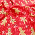 Christmas Gingerbread Men Snowflakes And Spots Polycotton Fabric