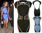 New Womens Celeb Rainbow Metallic Print Ladies Cut Out Cap Sleeve Dress Top 8-14