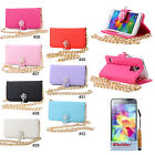 PU Wallet with Golden Chain Stand Flip Case Cover For Samsung Galaxy S5 V i9600