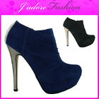 NEW LADIES HIGH HEEL DOUBLE GUSSET STILETTO PLATFORM ANKLE BOOTS SIZES UK 3-8