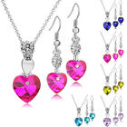 Heart Shape Blue Fuchsia Crystal Glass Earrings Necklace Set White Gold Plated