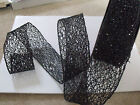 Halloween Chintzy Black Sequin Fret Mesh Web Net - Luxury Wire Edged Ribbon