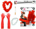 RED FLAPPER KIT FEATHER BOA GLOVES BEADS HEADBAND CIGARETTE HOLDER W FAKE CIG
