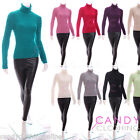 Womens Ladies Plain Long Sleeve Polo Roll High Neck Stretch Jumper size 10-18