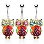 Colorful Epoxy Owl with CZ Eyes Dangle Navel Ring 316L Surgical Steel  B476