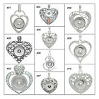 1PC Hot Charm Pendant Fit Snap Buttons Love Heart Rhinestone