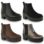 NEW WOMENS LADIES CHUNKY CLEATED SOLE CHELSEA ANKLE BOOTS PUNK ELASTICATED SHOES