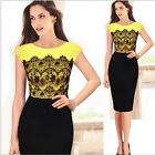 Women  Lace Short Sleeve Bodycon Fitted  Cocktail Sheath Dress Yellow CAWB