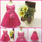 Infant Toddler Hot Pinks Christening Flower Girls Dresses SIZE 0-3-6-9-12-18 Mth