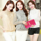 Korean Elegant Lady Long Sleeve Stand Collar Loose Lace Top Casual Shirt 4 Color