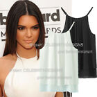 tp113 Celebrity Style Double Chiffon Trendy Halter Neck Strap Loose Fit Tank Top