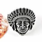 Punk 316L Stainless Steel Tibetan Silver Native Indian Chief Head Carved Ring