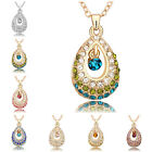 Princess's Tear Colorful Crystal Pendant Chain Necklace 18K  Gold Plated