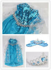 HQ !!  Frozen Disney Princess Girl Queen Elsa Cosplay Costume Party Fancy Dress