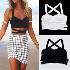 Women Sexy Strap Cami Cross Banded Bralet Bra Bodycon Crop Bustier Top Bandeau