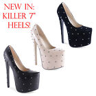 "New Ladies Killer 7"" High Heel Stiletto Studded Platforms Shoes Size 3 4 5 6 7 8"