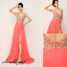 Sexy Backless Chiffon Maxi Party Prom Dresses High-slit Coral Evening Ball Gowns