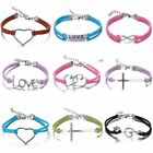 Charms Frienship Jewelry Fashion Leather Infinity Bracelet Silver Lot Style Pick