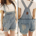 Cool Women Girls Washed Jeans Overalls Jeans Shorts Denim Bib Overall