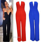 Sexy Womens Deep V Neck Sleeveless Cocktail Jumpsuits Bodycon Long Dress Pants